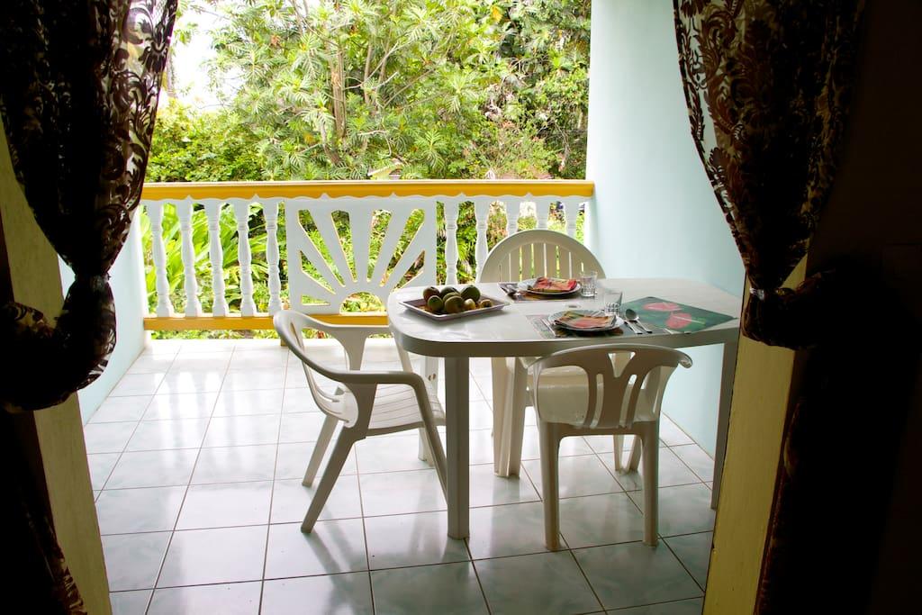 une terrasse agréable et ventilée avec vue sur le jardin