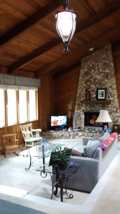 LIving room with fire place, vaulted ceiling, tv, blue ray DVD player, sofa and club chair
