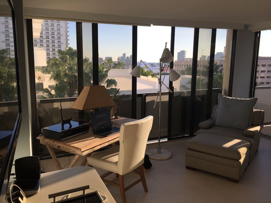 Wonderful city views from master bedroom with king size bed, full balcony, TV and walk in bathroom and closet.