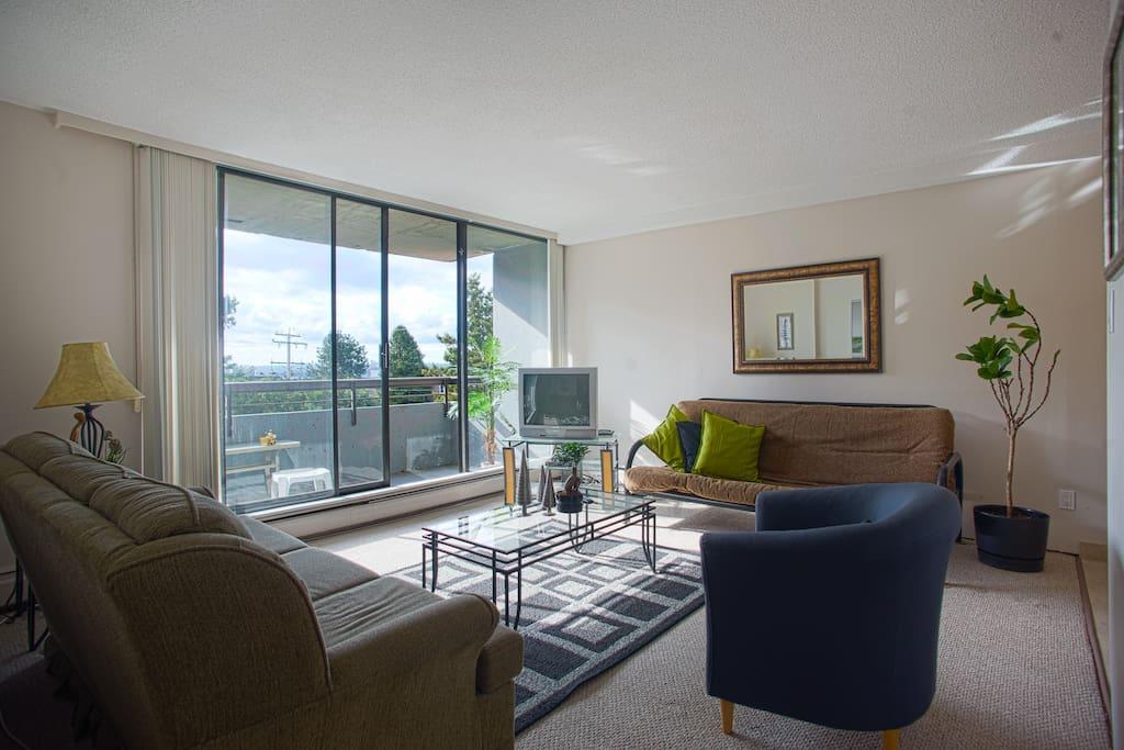 Spacious Living Room, TV has been upgraded to Flatscreen
