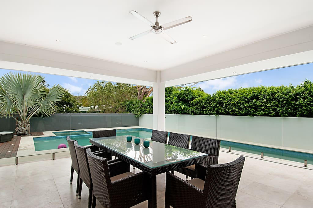 Outdoor BBQ and dining area
