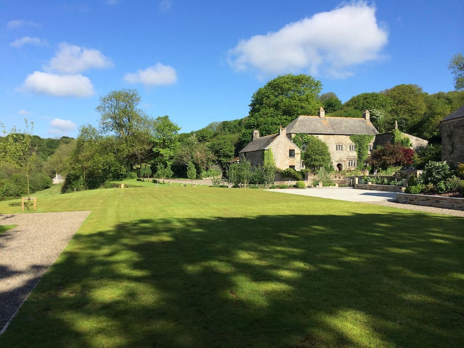The view across the lawns to Pengenna Manor
