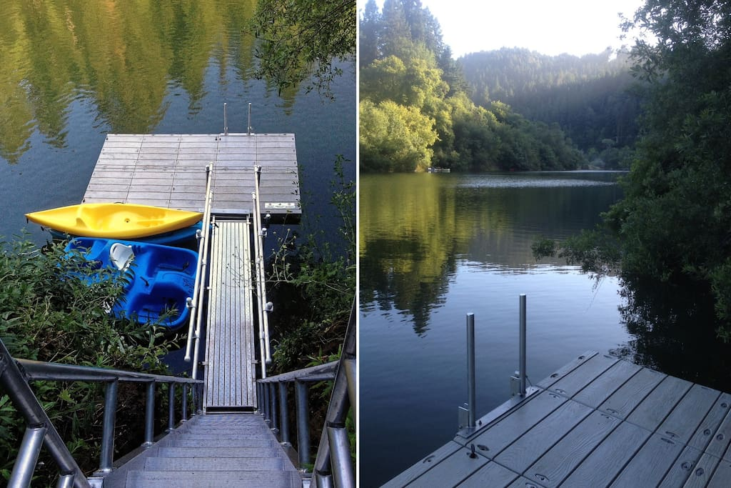 Seasonal Floating Dock with 2 kayaks and a canoe (we had to retire the paddle boat after summer 2016.) And an up close view of the summertime river from the dock.