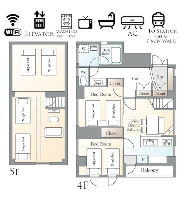 Apartment layout. 4th floor with 2 bedrooms and dining/ living/ kitchen. 5th floor with bedroom and living area.