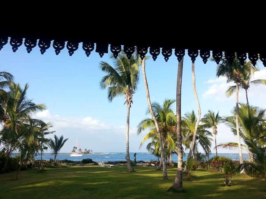 l'ile aux cocotiers vue de la terrasse