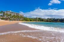 One of the top 3, fun, safe swimming beaches on Kauai...Kalapaki Beach.  5 minute walk from condo