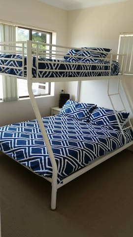 Tri-bunk in bedroom 2 (double and a single)