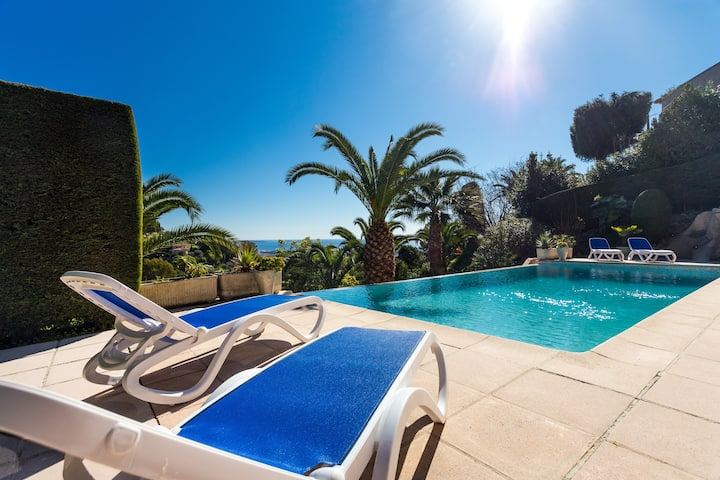 Beautiful villa close toCANNES seaview pool heated