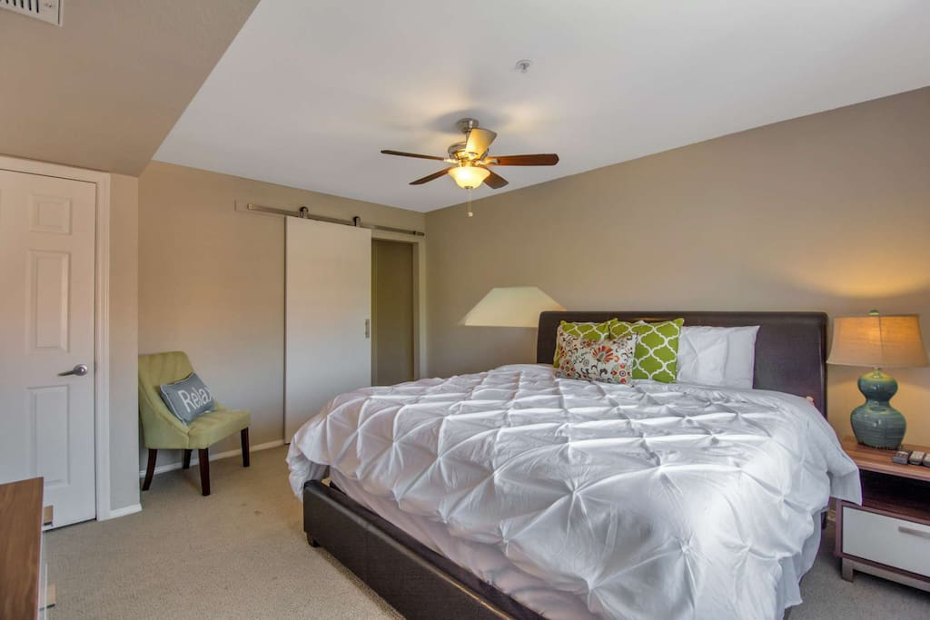 Quaint Master bedroom with King Size bed, ceiling fan, closet and fun barn door