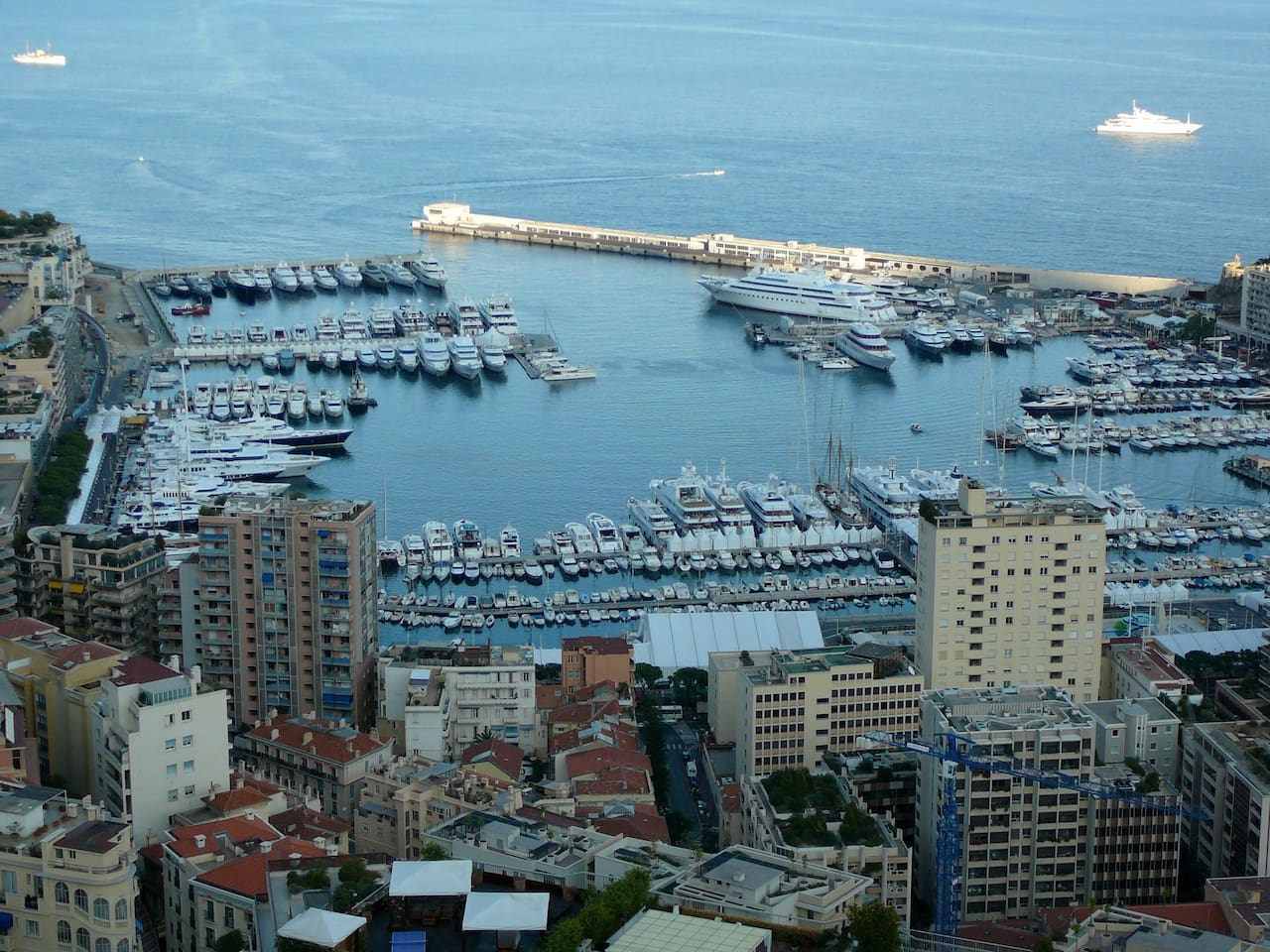 Spectacular view of Port Hercule, the main harbour of Monaco