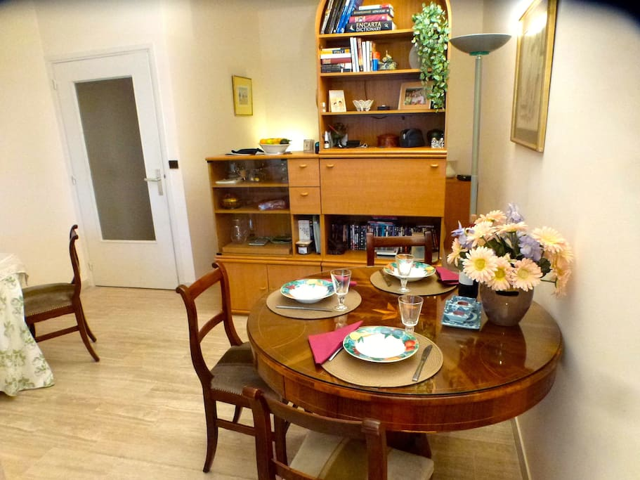 Inside the studio, dining area