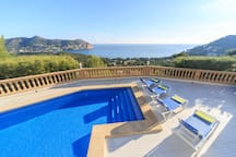 Swimming pool with the view over the Bay of Canyamel