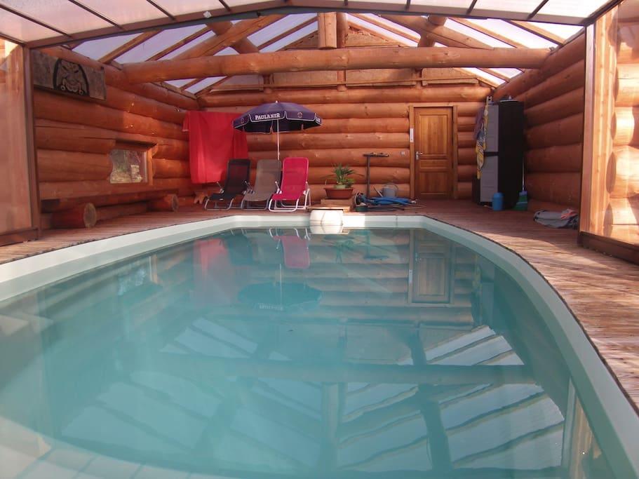 piscine couverte en rondin