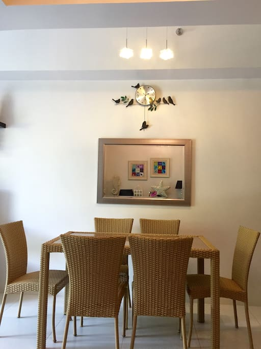 Dining Table for six, and there is a table and benches in the veranda if you are more than 6 persons