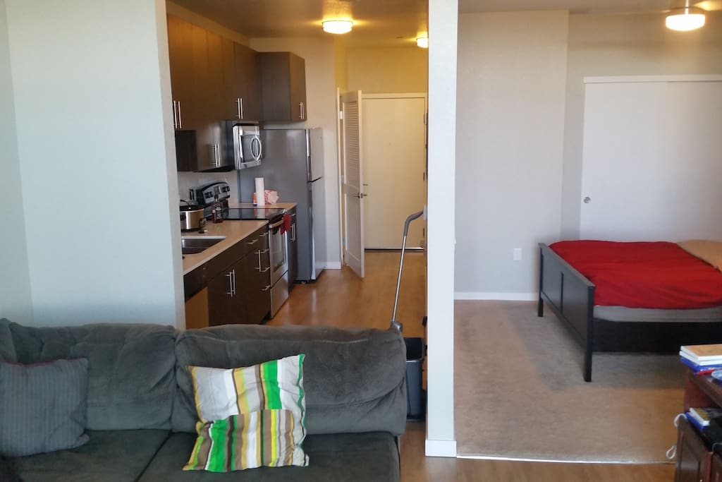 The studio apartment is an open space between the living area and the sleeping area.