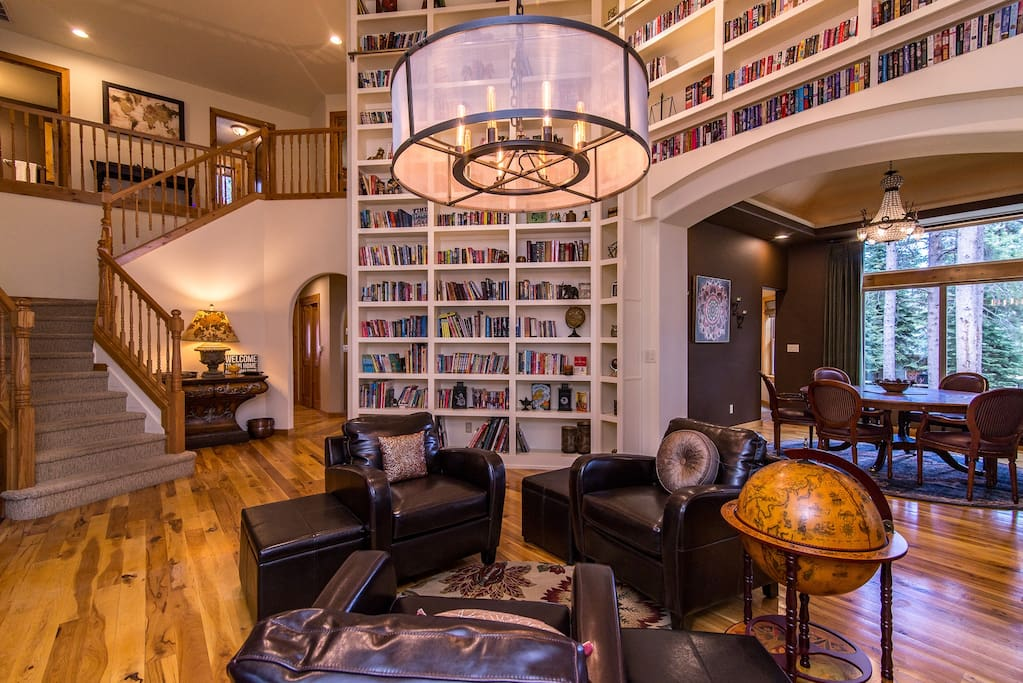 A stunning library frames the space