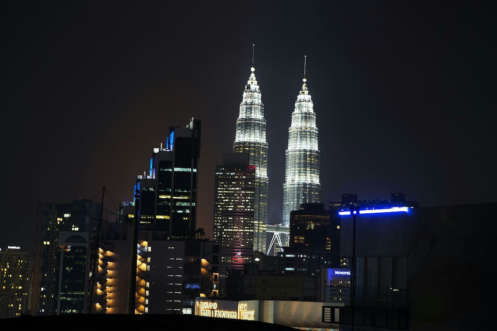 Petronas Twin Towers view from the rooftop.