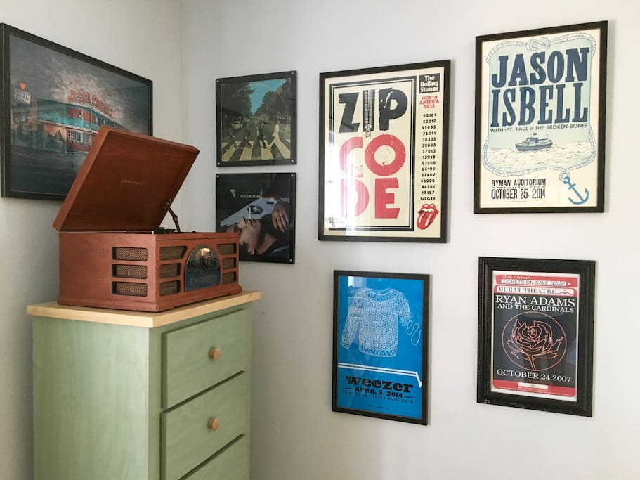 a music lovers paradise... spin vinyl from a fun selection of records and enjoy the impressive poster collection throughout the house (many from our favorite venue, the Ryman Auditorium- we highly suggest catching a show or touring this iconic Nashville staple!)