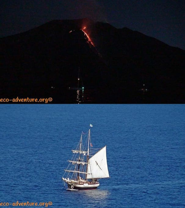 volcanic eruption from stromboli, Sailing ship from friends