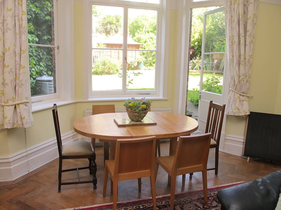 Dining area leading onto garden