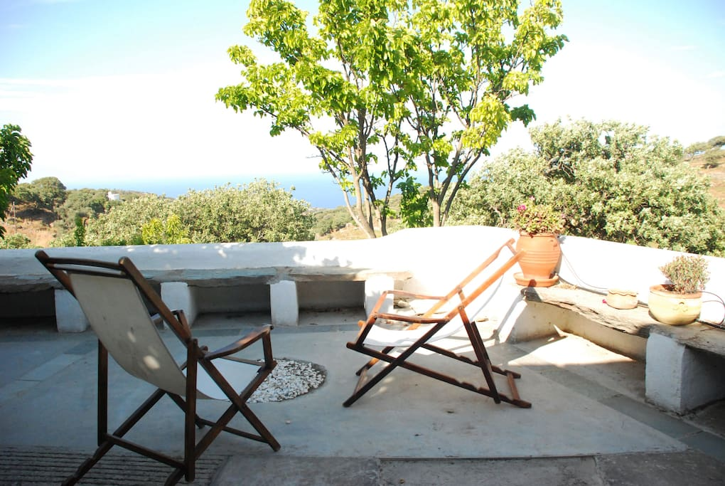 Great view from the veranda to the northeast, (Lavrio port & Andros island)