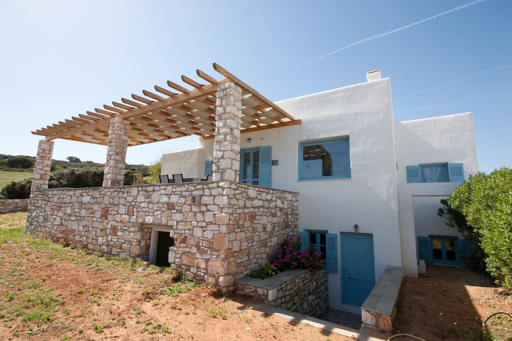 Our villa's exterior. You can see the entrance to the lower-ground floor apartment