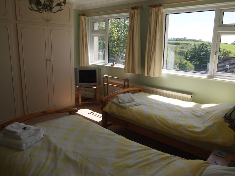 Twin room with views to the estuary.