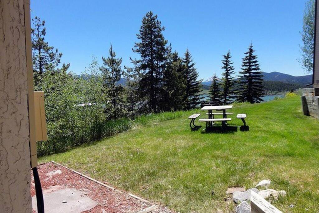 View of Lake Dillon out your door!  Grill and picnic tables available in the common area for barbecuing!