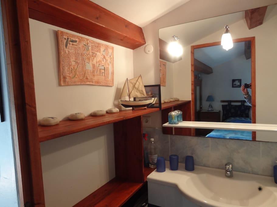 Jolie salle d'eau avec très grande douche en mosaïques