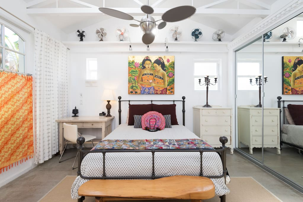 Sleeping Space #1: This bedroom has a Balinese vibe