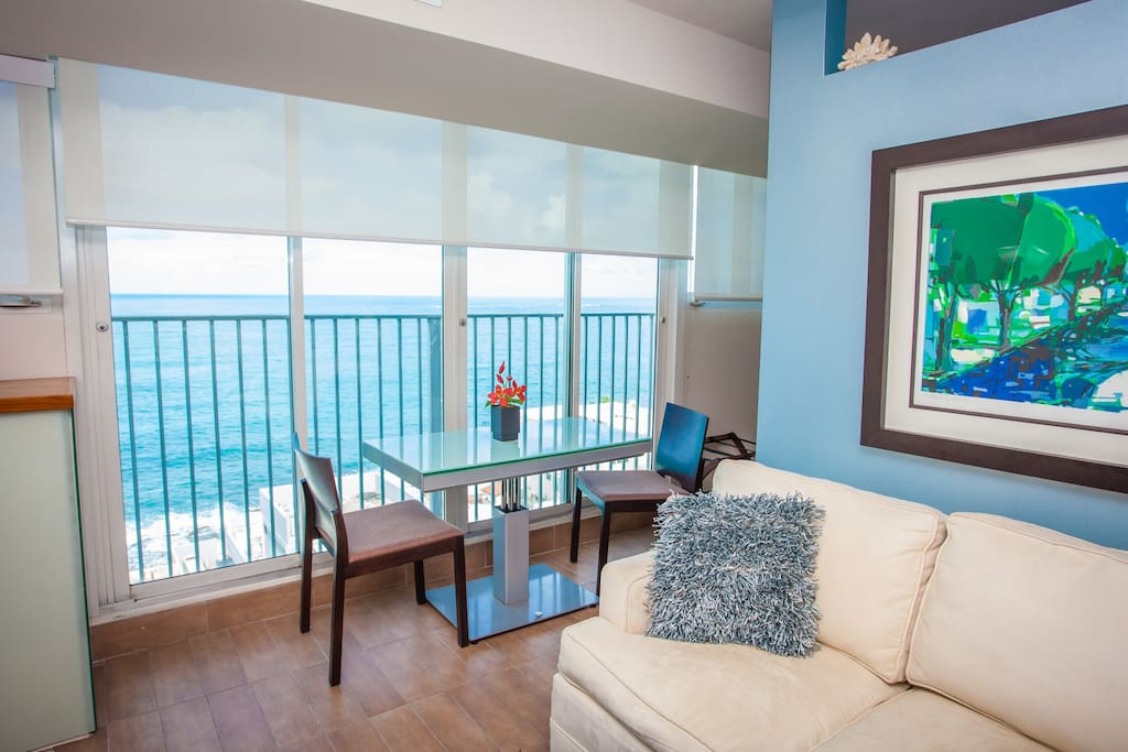 Living Room also enjoys the views of the Ocean.