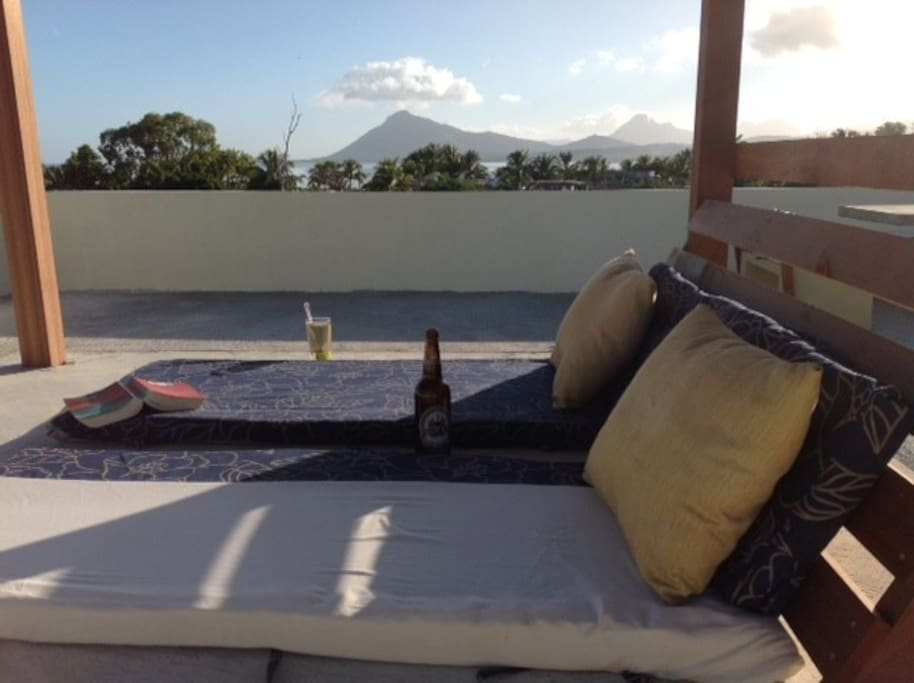 Ocean & mountain views in every direction from our rooftop giant sun bed