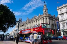 Hop On Hop Off Bus Tours at Parque Central, 10 CUC per person. 100 meters from the apartment.