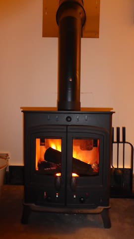 Wood burner for chilly nights.