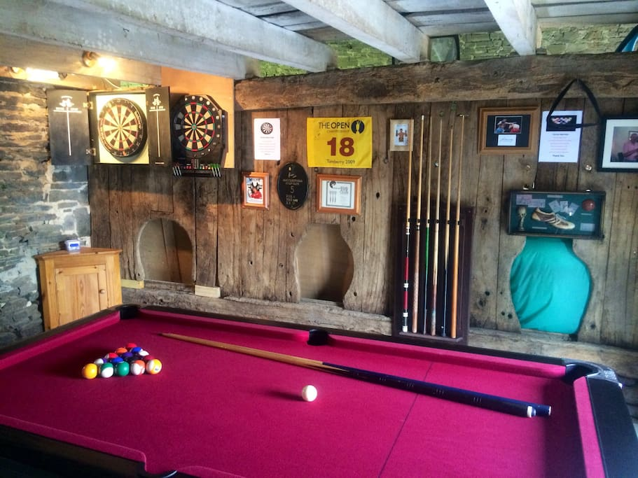 Games room with pool table, darts and new for 2016 Table Tennis