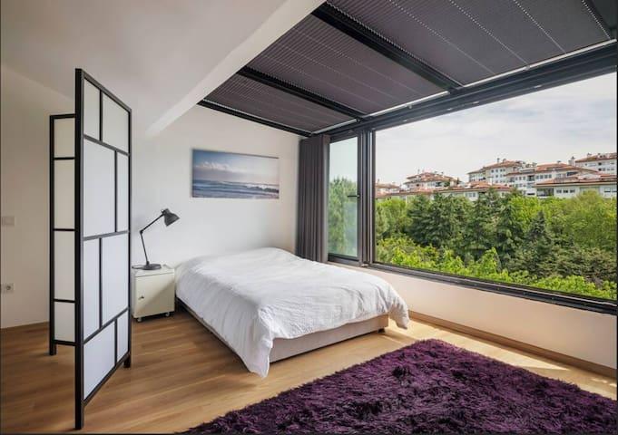 Bright, Green Duplex with a Skylight & Balcony