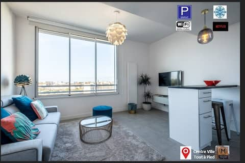 Appartement Neuf, Centre ville, belle vue, Parking