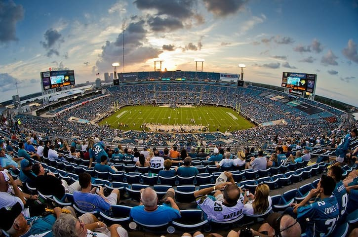 TIAA bank field, the home of the Jacksonville Jaguars, is just over a mile away.
