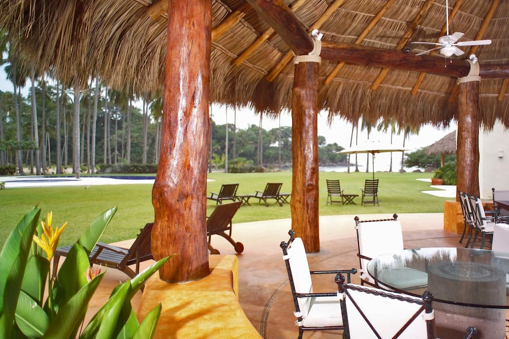 view to the beach from the palapa