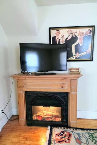 The electric fireplace adds ambiance and warmth. The controls for light and heat are behind the screen when you open it.
