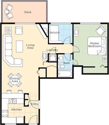 1 Bedroom Floor Plan - Option 2