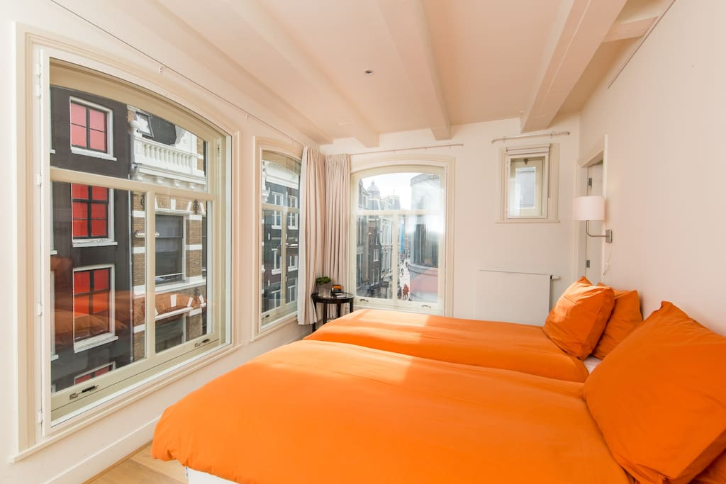 The bedroom. Right on the corner of the building - great views!