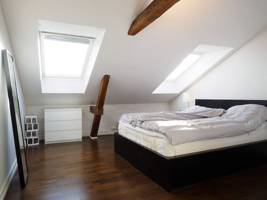 Large master bedroom with double bed