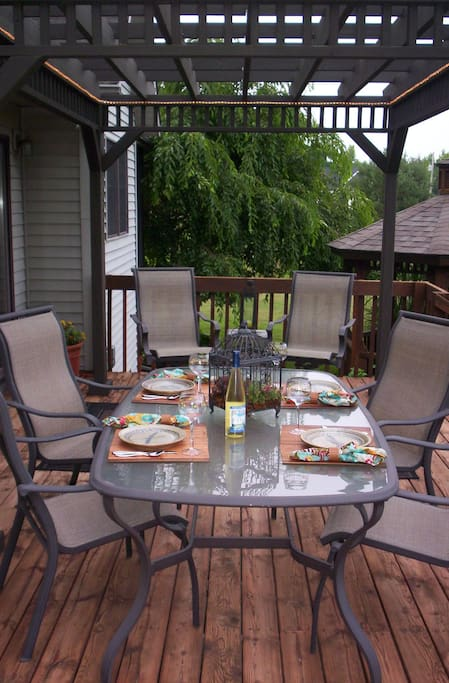 Sit and enjoy a meal on the back deck or just visit with friends.