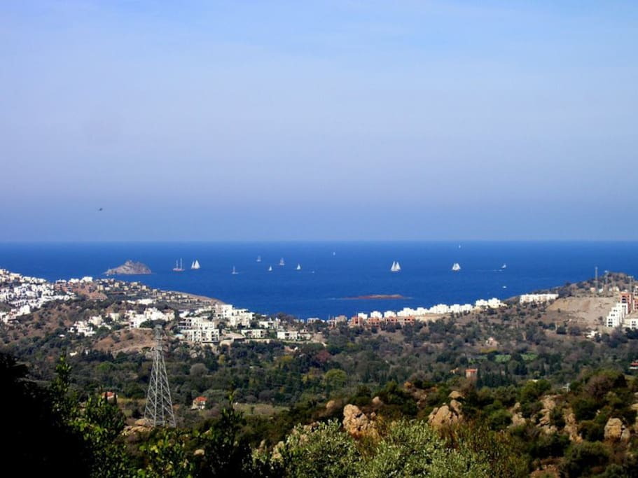 Day time view from house and the annual Bodrum Cup sailboat race (October)