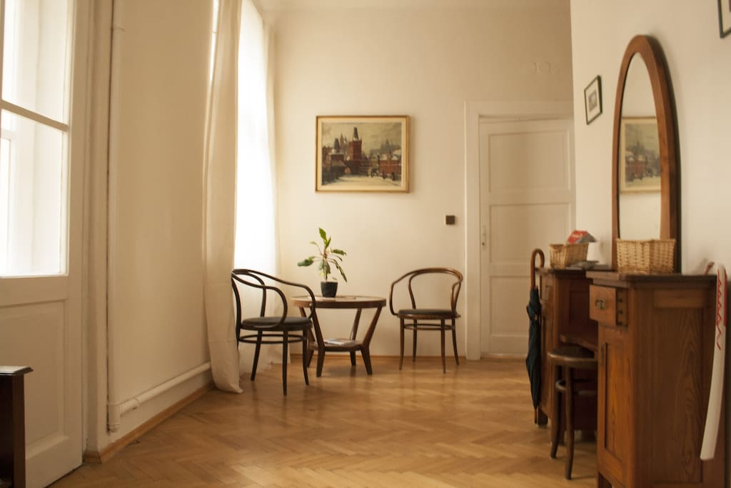 Entry room in our apartment - 1930s furniture and lovely painting
