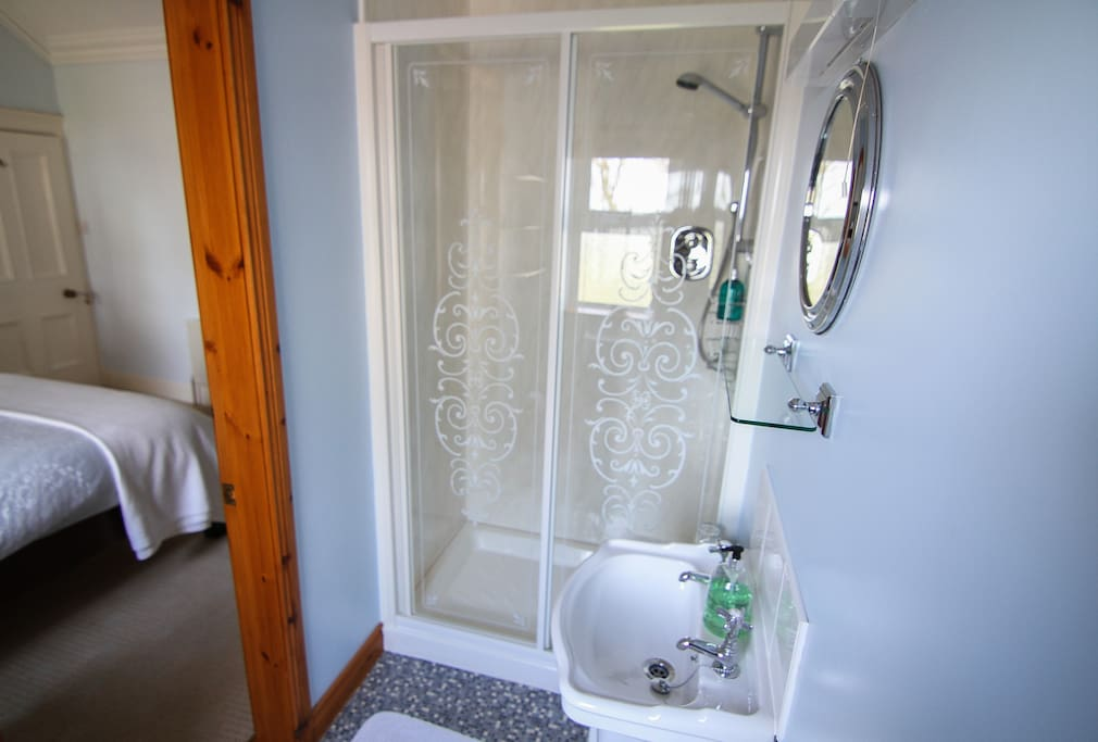 Room has own private bathroom with shower, toilet and sink.
