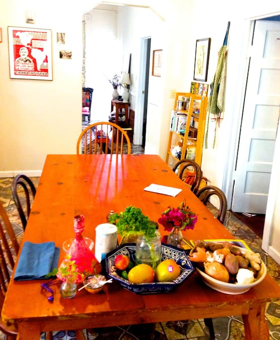 Our big long farm table in the kitchen!