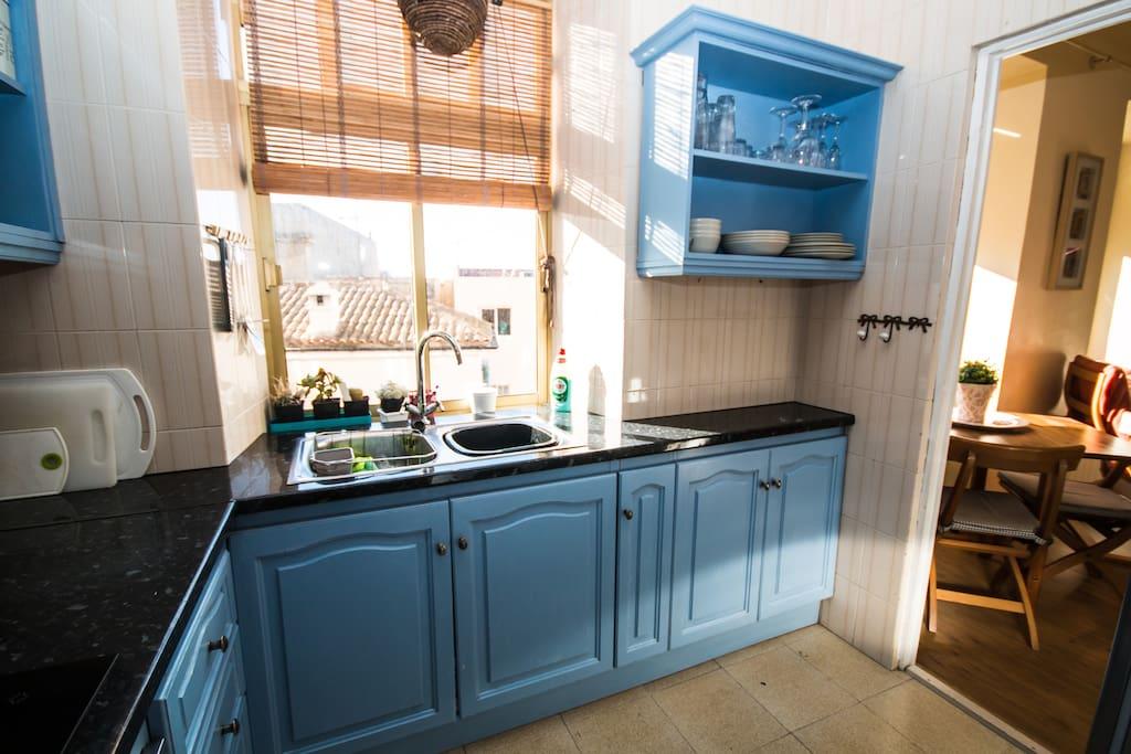 Full Kitchen , all utensils, and washing machine