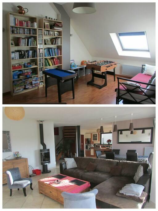 Salon, séjour, cuisine et mezzanine